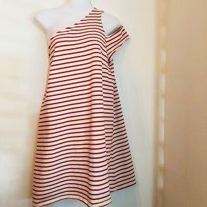 Maeve   Marketa . red stripped one shoulder dress